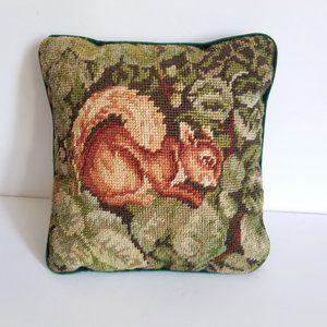Vintage Needlepoint Squirrel Pillow Velvet Back